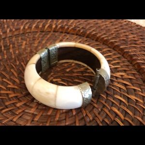 Antique Bone Cuff Bracelet w Brass Hinge